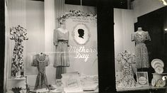 Henderson-Hoyt Department Store display window at 2-10 North Eighth Street in Manitowoc, WI (1942). In the days before radio and TV, department store display windows at sidewalk level provided good advertising. This building remains standing in 2013. (Manitowoc Public Library).