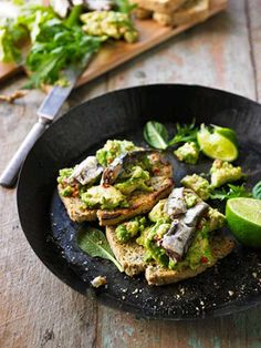 People often ask me what my favourite recipe is from my new book Eat Yourself Beautiful and although I love them all my special favourite is Smashed Sardines with Avocado on Chia and Flaxseed Loaf. It's probably because I eat it a few times and w Sardines On Toast Recipe, Loaf Recipes, Cooking Recipes, Flaxseed Bread, Happiness Recipe, My Favorite Food, Favorite Recipes, Healthy Snacks, Healthy Recipes