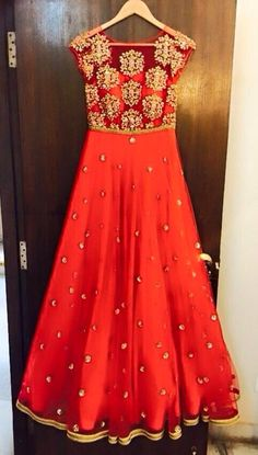Orange Anarkali. Indian attire. Desi attire. Bright colour.