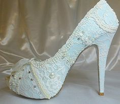 """They're called """"Something Blue"""" and are made with handmade lace, some of which is from the victorian era. That sounds amazing on its own, but on top of that they are custom made and their designers are willing to incorporate pieces (such as lace from a grandmother's wedding dress) from the person ordering them."""