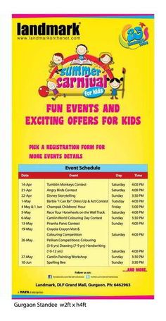 Summer Carnival for Kids at DLF Grand Mall, Gurgaon from 14th April to 10th June 2012