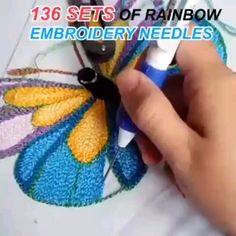 DIY Rainbow Color Embroidery Threading Tool - Knitting for beginners,Knitting patterns,Knitting projects,Knitting cowl,Knitting blanket Embroidery Tools, Hand Embroidery Videos, Hand Embroidery Stitches, Embroidery Needles, Embroidery Patterns, Butterfly Embroidery, Rose Embroidery, Knitting Needles, Knitting Stitches