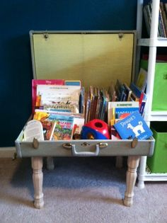 Kids bookcase/toy box from a thrift store suitcase.