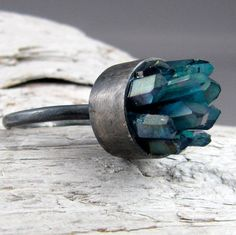 Aqua Aura Quartz Silver Ring