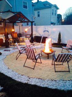 Coastal Life Patio and Porch . Coastal Life Patio and Porch . Sand Fire Pits, Outside Fire Pits, Sand Pit, Fire Pit Landscaping, Fire Pit Backyard, Sand Backyard, Backyard Decks, Backyard Cabana, Backyard Chairs