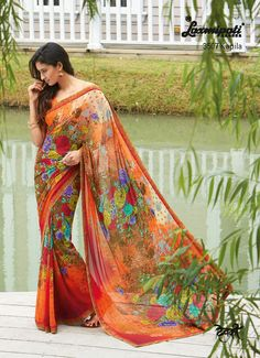 Add some brightness in your wardrobe by terrific orange floral printed georgette saree with matching georgette foil print blouse.