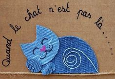 Créations animaux en jeans recyclés Jean Crafts, Denim Crafts, Rock Crafts, Paper Flowers Craft, Fabric Flowers, Motifs D'appliques, Creative Birthday Cards, Applique Patterns, Scrapbook Paper