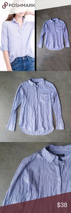 """J. Crew Boy Shirt in Blue Skinny Stripe J. Crew button down blouse, size 8 (medium), in excellent condition! Style is """"Boy Shirt"""" and color/pattern is """"Blue Skinny Stripe."""" A classic wardrobe staple for dressing up or down. Tuck it into a pencil skirt for work or wear over a v-neck tee with skinny jeans at the coffee shop! 19.5"""" pit to pit, 25"""" length. 99% cotton, 1% elastane. Cover photo from J. Crew website. No trades. No modeling. Make a reasonable offer. Thanks! J. Crew Tops Button Down…"""
