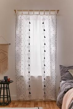 Shop Ambrose Window Panel at Urban Outfitters today. We carry all the latest styles, colors and brands for you to choose from right here. Sheet Curtains, Dining Room Curtains, Tassel Curtains, Patterned Curtains, Window Curtains, Black White Curtains, Cortinas Boho, Home Decor Sale, Curtain Patterns