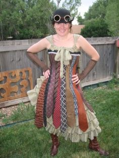 Picture of Steampunk Necktie Corset Dress- One of the most detailed and frank tutorials for a corset that I have run across. Don't agree with her aesthetic choices about how to use the ties, but this is gold. - Q