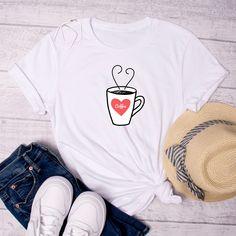 Love Coffee T-Shirt - White, Coffee T-Shirt, Coffee Lover Shirt, Coffee, Coffee Cup T-Shirt, Graphic Tee, Friend Gift, Coffee Drinker Shirt by FunTeazz on Etsy White Coffee, Coffee Coffee, Coffee Drinkers, Cool T Shirts, Gifts For Friends, Graphic Tees, T Shirts For Women, Trending Outfits, Fun