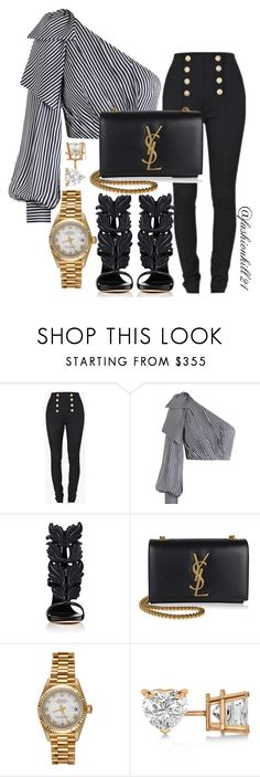 Untitled #1438 by fashionkill21 on Polyvore featuring Zimmermann, Balmain, Giuseppe Zanotti, Yves Saint Laurent, Rolex and Allurez