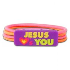 "Color Stretch Bracelet - Jesus Loves You! Check out Kerusso's new Jesus Loves You Bracelet. The Christian Stretch Bracelet is pink and orange bands with the words ""Jesus Loves You"", a picture of a heart.. Get your Jesus Loves You Stretch Bracelet Today!"