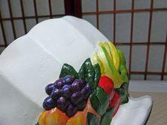 Vintage Chalkware Colorful Large Fruit Bowl 1950's Retro, Farmhouse Decor Centerpiece by Vintage42Day on Etsy