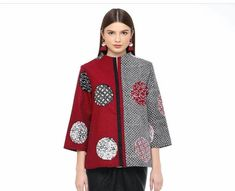 Contoh model atasan Batik Blazer, Blouse Batik, Batik Dress, Tunic Blouse, Kebaya Lace, Batik Kebaya, Batik Danar Hadi, Polo Shirt Design, Model Baju Batik