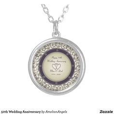 50th Wedding Anniversary Round Pendant Necklace