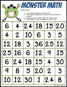 Freebie! Monster Math Multiplication