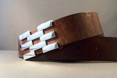 Vintage Brown Leather belt With Abstract Silver by 4MLeatherDesign, $72.00