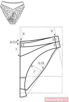 Russian site with illustrations showing how to  alter a standard brief pattern to create various underwear styles