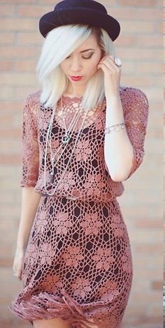 Pretty crochet dress x ♪ ♪ ... #inspiration #crochet #knit #diy GB