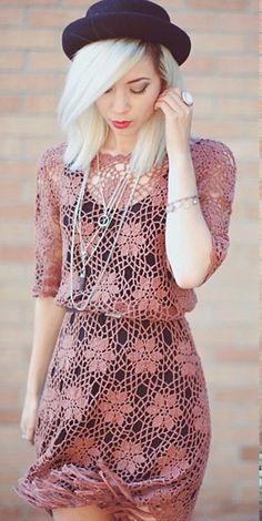 Pretty crochet dress x ♪ ♪ ... #inspiration #crochet #knit #diy GB