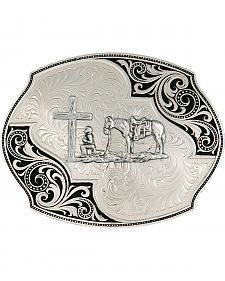 Montana Silversmiths Lace Whisper Flourish Bullrider Western Belt Buckle