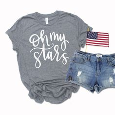 Get a free oh my stars patriotic svg to make of july shirts and diy Canada Day Shirts, Fourth Of July Shirts, July 4th, Free Svg, Star Svg, 4th Of July Decorations, Silhouette Machine, Silhouette Cameo, School Shirts