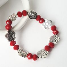 Silver Flower Connectors With Red Faceted Crystal  by BijiBijoux, $23.00