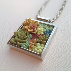 Succulent Garden Necklace – Abbot Kinney Square Pendant on Etsy