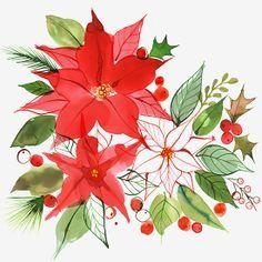 Margaret Berg : holiday / christmas: Christmas Pointsettias