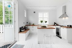 all white everything interior design, wooden benches, country houses, contemporary kitchens, dream, girl style, kitchen benches, wooden flooring, white kitchens