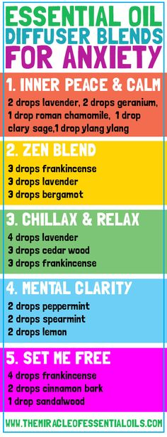Top 5 Essential Oil Diffuser Blends for Anxiety - The Miracle of Essential Oils - DoTERRA Essential Oil Candles, Essential Oil Scents, Essential Oil Diffuser Blends, Essential Oil Uses, Doterra Essential Oils, Young Living Essential Oils For Anxiety, Essential Oils For Relaxing, Essential Oil Stress, Essential Oils