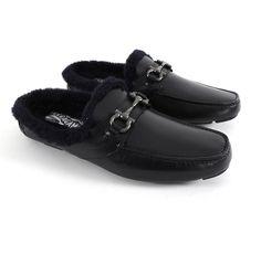 3d161fb8e Salvatore Ferragamo Black Shearling Mule Slip-On Loafers - 9  fashion   clothing