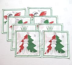 8 Christmas Linen Cocktail Napkins Angels by Pat Miller by LinensandThings on Etsy