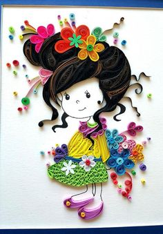 Paper Quilled 'Evelynn' cute little girl Doll Nursery decor, kids room artwork, Wall art,birthday, Christmas gift ideas Neli Quilling, Quilling Dolls, Quilling Work, Paper Quilling Patterns, Quilled Paper Art, Quilling Paper Craft, Paper Crafts, Quilling Tutorial, Quiling Paper