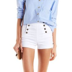 Cello Buttoned Denim Sailor Shorts (1,290 PHP) ❤ liked on Polyvore featuring shorts, white, high rise denim shorts, short jean shorts, white shorts, highwaisted jean shorts and high-waisted denim shorts