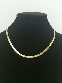 14k yellow gold Vtg Italian herringbone necklace 18 inches 19.78 grams 3.175 mm #Unbranded #Chain