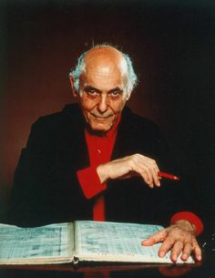 Solti with his characteristic red pencil.