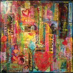 Gemälde in Acryl auf einer 60 x 60 x 1,5 cm Leinwand. Zeitgenössische Gestaltung im Mixed-Media-Style (siehe Detailbilder) mit einer vielfältigenFarbauswahl. Gespachtelt. Die Ränder sind in schwarz bemalt. Hochwertiges, handgefertigtes Unikat, signiert vom Künstler und behandelt mit glänzendem Gemäldefirnis. http://www.tomglasauer.de/visual-artist/a-long-way-to-the-heart/