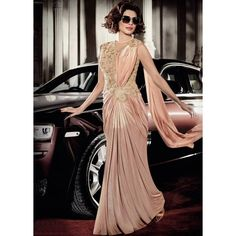 Buy Priyanka Chopra peach color lycra saree style gown in USA,UK and CANADA Party Wear Gowns Online, Gown Dress Online, Dresses Online, Drape Sarees, Drape Gowns, Designer Gowns, Indian Designer Wear, Saree Gown, Lehenga Choli