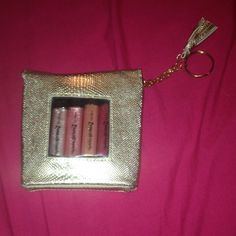 "NEVER OPENED lip gloss set! Holiday Gems lipgloss set with 4 lipgloss'. Comes in a cute ""snakeskin"" purse with key chain. Great for a gift! Makeup Lip Balm & Gloss"