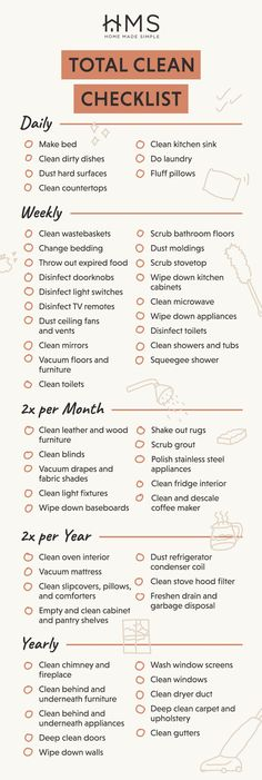 House Cleaning Checklist, Household Cleaning Tips, Diy Cleaning Products, Cleaning Hacks, Cleaning Schedules, Apartment Checklist, Weekly Cleaning, Deep Cleaning, Bebidas Do Starbucks