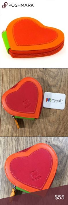 5cbff858fb1 NWT Mywalit Heart Shaped Coin Purse NEW With Tag Mywalit leather heart  shaped coin purse with