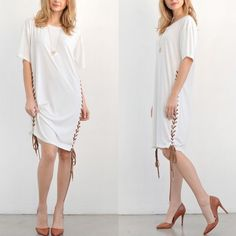 AMBROSIA tshirt tunic dress - IVORY T SHIRT TUNIC DRESS WITH DRAWSTRING SIDE DETAIL. How edgy yet understated is this beauty. PRICE FIRM Bellanblue Dresses