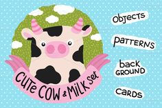 Cute Cow and Milk set by kostolom3ooo on Creative Market