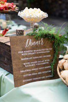 Reception Dinner Menu Wood Sign | Centerville-Estate-Wedding-Photographer-Chico-California-TréCreative