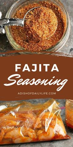 This Fajita Seasoning Recipe is perfect for chicken, beef, shrimp, and vegetables, either as a dry rub or a marinade. You can make at home in 5 minutes with ingredients you already have in your spice cabinet, and it tastes much better than the store bought packets! It's naturally paleo and gluten free as well. Homemade Spices, Homemade Seasonings, Homemade Desserts, Seasoning Recipe, Fajita Seasoning, Seasoning Mixes, Mexican Food Recipes, Vegan Recipes, Cooking Recipes