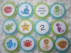 Under the Sea, Sea, Beach, Baby Shower, Birthday, Handmade Toppers, Boy or Girl. $10.00, via Etsy.