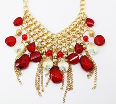Style&co. Gold-Tone Fringe Chain and Mixed Bead Frontal Necklace #Styleandco #Statement
