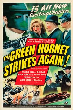 """A poster for a 1941 editino of the Universal serial """"The Green Hornet,"""" the """"The Green Hornet Strikes Again!"""""""